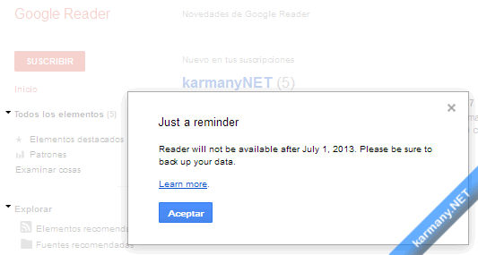 Google Reader reminder