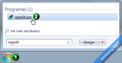 Buscar Regedit en Windows 7