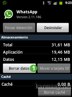 Borrar datos Whatsapp