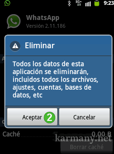 Eliminar datos WhatsApp