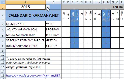 Calendario Con Excel.Crear Un Calendario Anual En Excel Y Vba