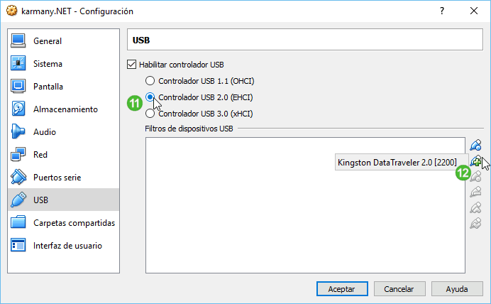 Configuración USB en VirtualBox